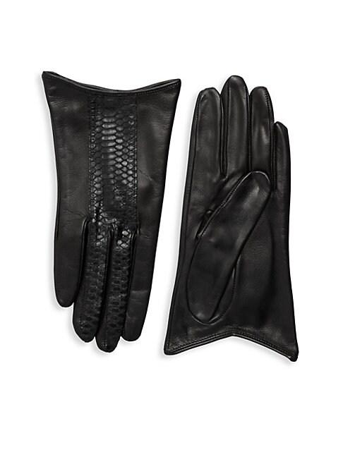 Snake-Print Striped Leather Gloves