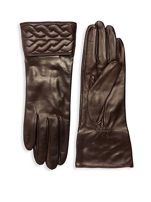 Quilted Braid Leather Gloves