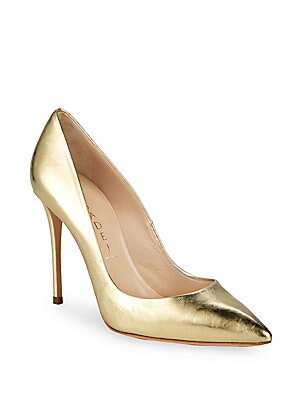 Textured Leather Round Toe Pumps by Casadei