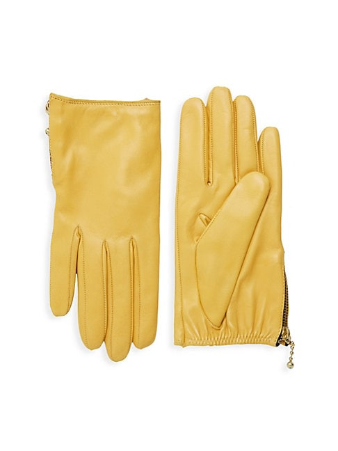 Side Zip Leather Gloves