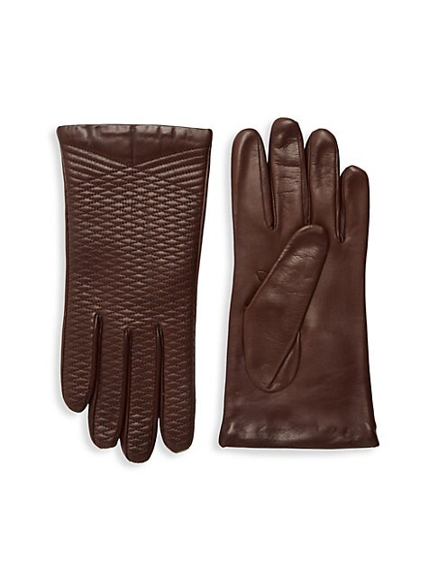 Crisscross Embroidered Leather Gloves