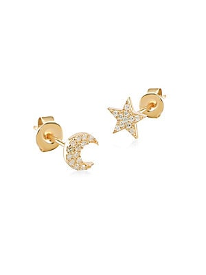 Moon &Amp; Star Mismatched Stud Earrings by Gabi Rielle