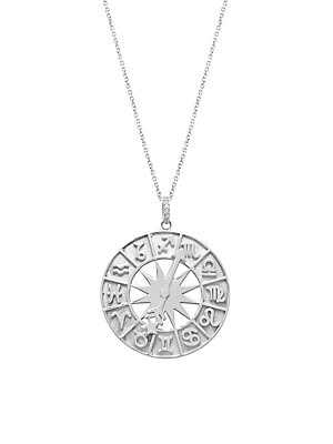 Sterling Silver Spinner Horoscope Medallion Pendant Necklace by Gabi Rielle