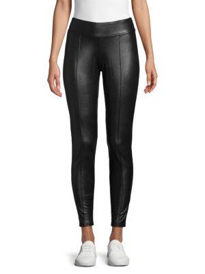 HUE Lightweight Faux-Leather Leggings in Black