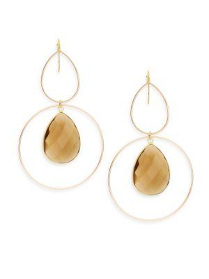 Panacea Quartz Teardrop & Double Hoop Earrings
