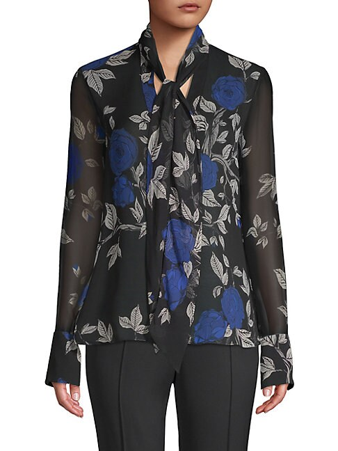 Silk Floral Tie Neck Blouse