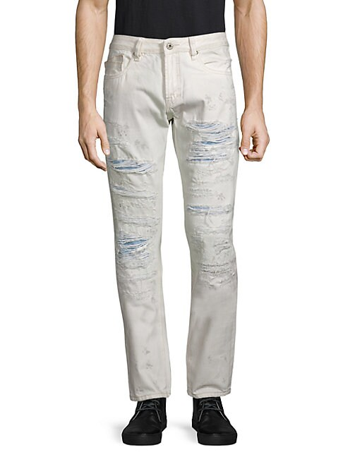 CULT OF INDIVIDUALITY | Distressed Straight-Fit Jeans | Goxip
