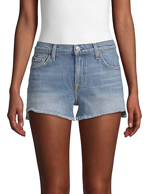 Cut-Off Step Hem Denim Shorts