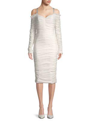 Ronny Kobo Silk-Blend Ruched Cold-Shoulder Sheath Dress