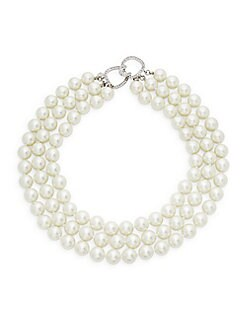 Kenneth Jay Lane - Sterling Silver, Faux Pearl & Crystal Three-Row Collar Necklace