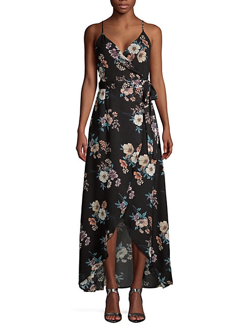CIRANA Long Floral Wrap Dress in Black