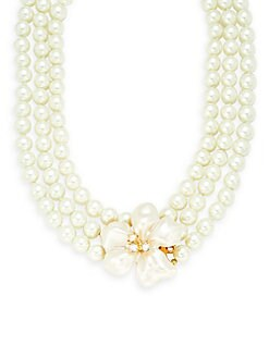 Kenneth Jay Lane - Faux Pearl & Crystal Two-Row Necklace