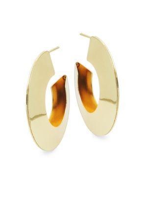 Kenneth Jay Lane Goldtone Half Hoop Earrings