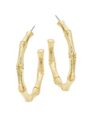 Kenneth Jay Lane Medium Goldtone Bamboo Hoop Earrings