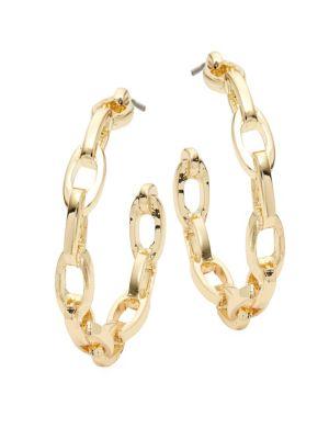 Kenneth Jay Lane Oval Link Hoop Earrings