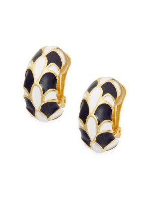 Kenneth Jay Lane Glass Clip-On Hoop Earrings