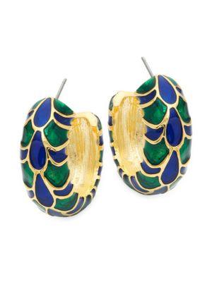 Kenneth Jay Lane Embossed Goldtone Hoop Earrings