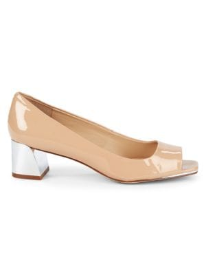 Patent Leather Block Heel Pumps in Nude