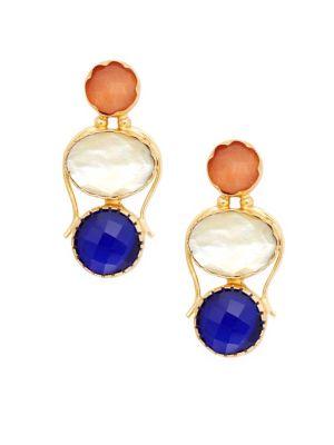 Kenneth Jay Lane Goldtone Glass Gem Drop Earrings