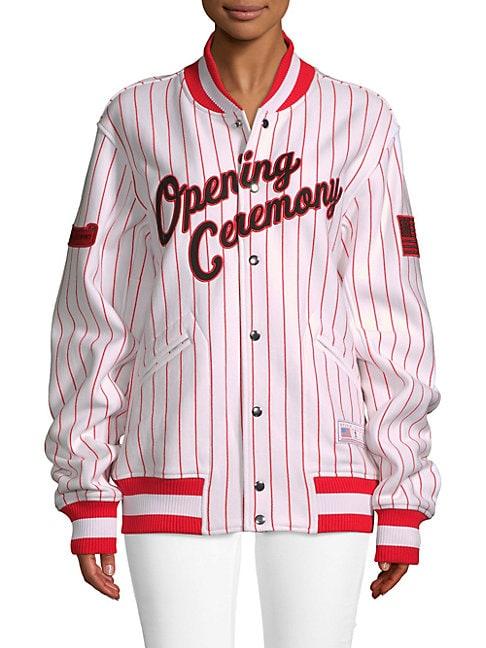 Pinstriped Cotton Varsity Jacket