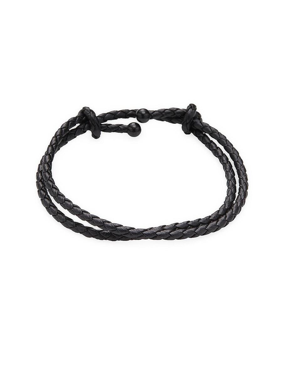 Men's Double-Wrap Leather Bracelet