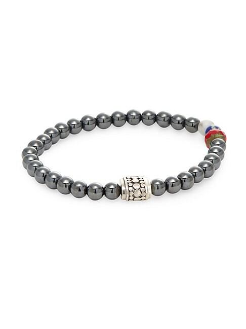 JEAN CLAUDE | Hematite and Sterling Silver American Pride Bracelet | Goxip