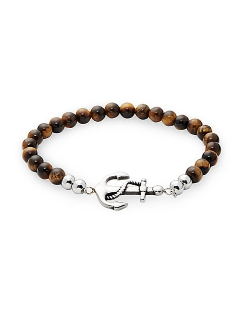 JEAN CLAUDE | Tiger's Eye Bead & Anchor Bracelet | Goxip