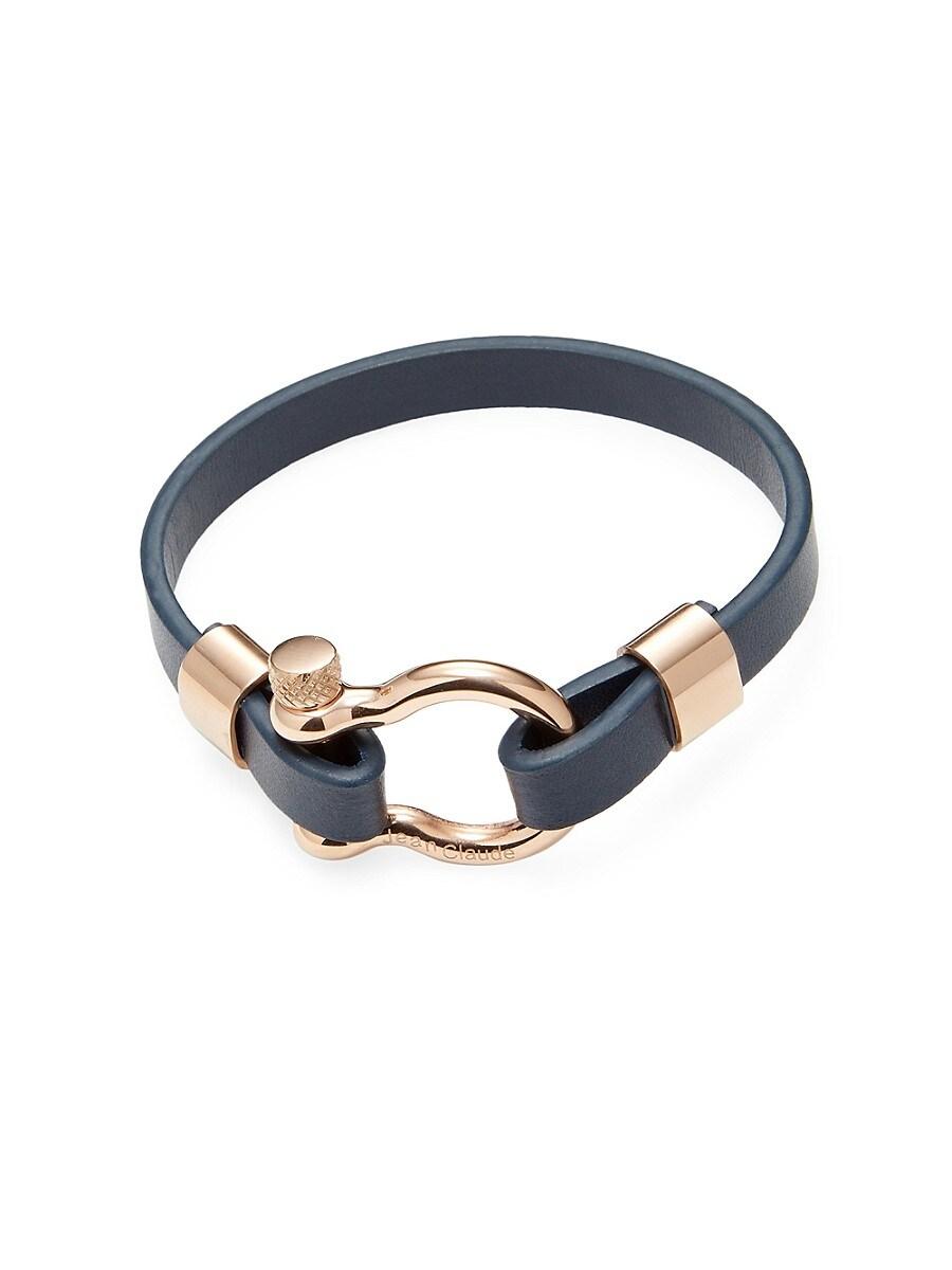 Men's Dark Blue Leather and Stainless Steel Bracelet