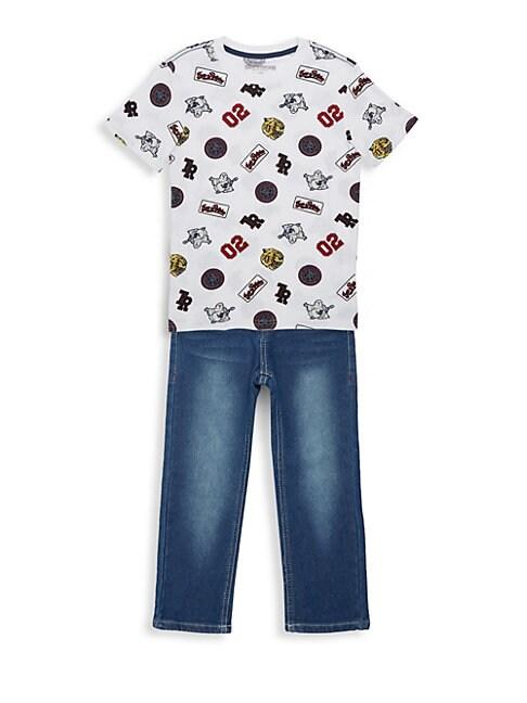 Little Boys 2Piece Patch Print TShirt  Jean Set