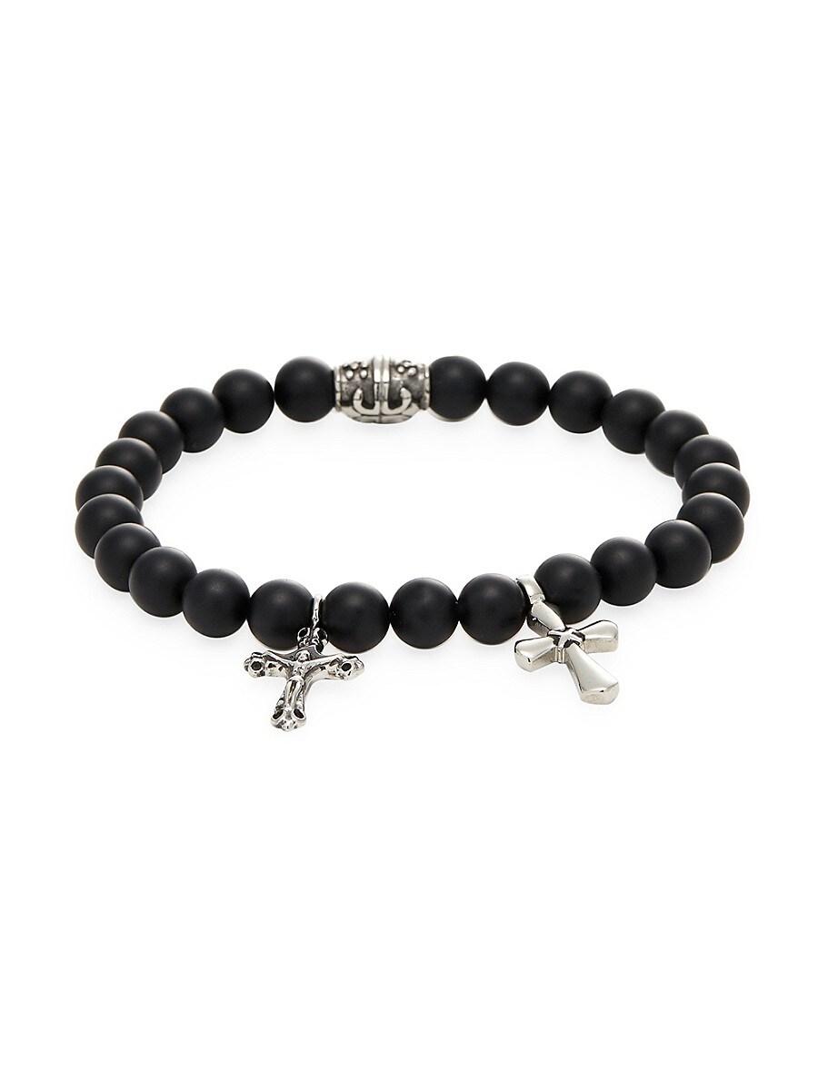 Men's Onyx and Stainless Steel Cross Charm Bracelet