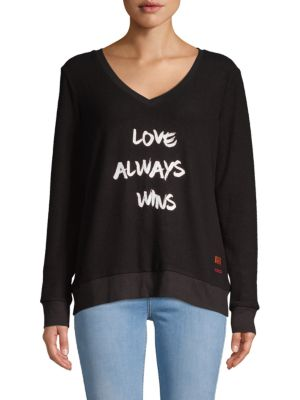 PEACE LOVE WORLD Love Graphic Sweatshirt in Black