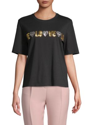 Maje Glittered Love Graphic T-Shirt