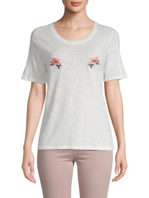 Maje Floral Embroidered Cotton Tee
