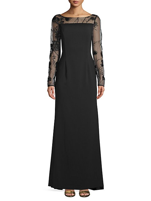 CARMEN MARC VALVO INFUSION   Long-Sleeve Lace Evening Gown   Goxip