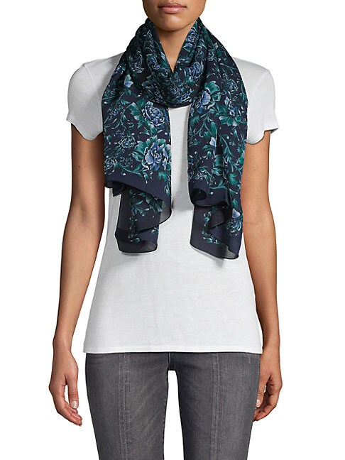 BURBERRY | Floral Silk Scarf | Goxip