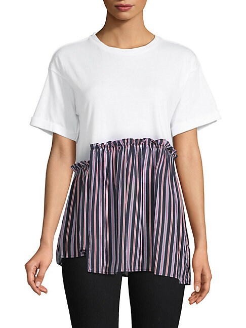 GREY LAB Striped Asymmetrical-Hem Tee in White Multi