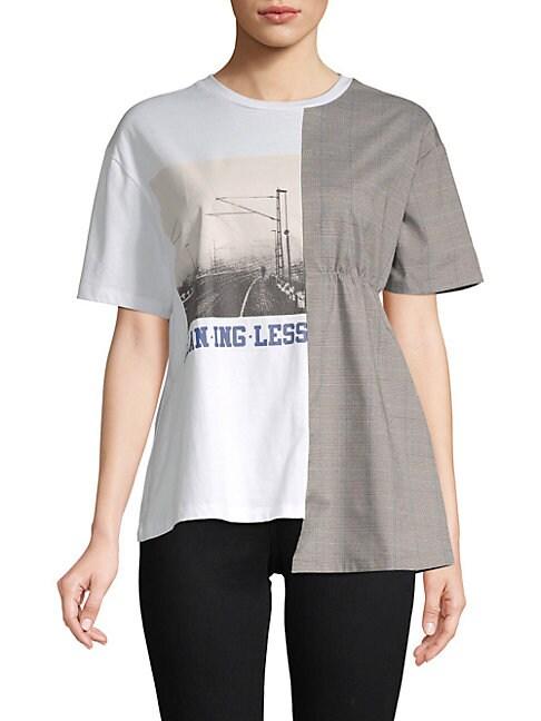 GREY LAB Asymmetric Graphic T-Shirt in White