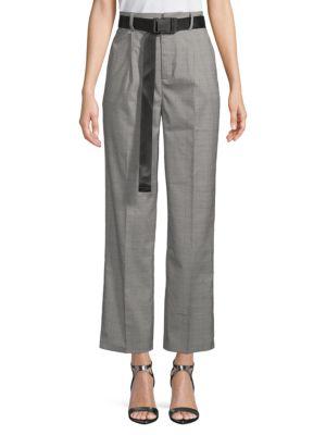 Grey Lab Plaid High-Waist Pants