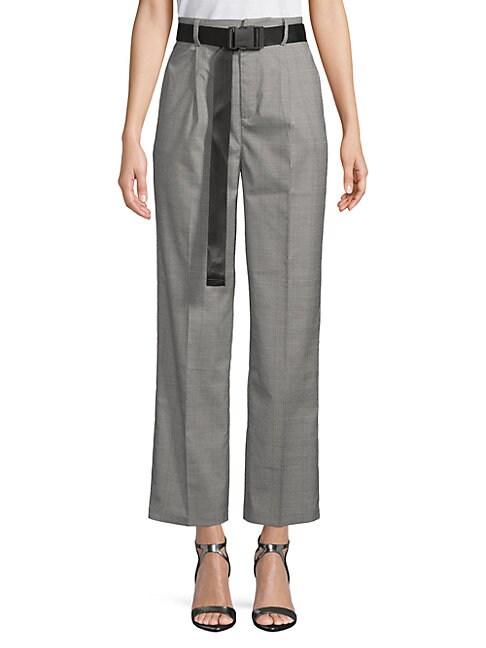 GREY LAB Plaid High-Waist Pants in Grey