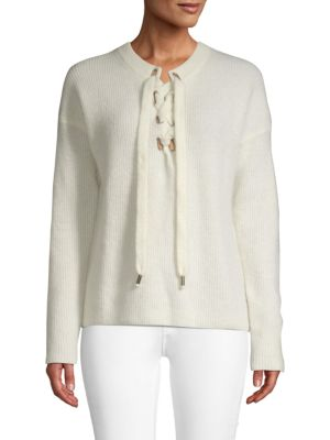 1cab5df1dd Maje Lace-Up Sweater In White