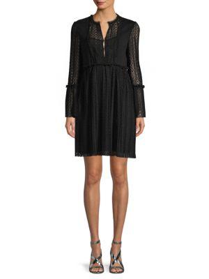 Maje Long-Sleeve Ruffled Dress