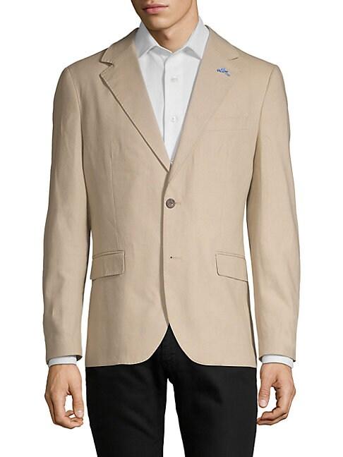 TAILORBYRD Notch Lapel Linen & Cotton Sportcoat in Buff