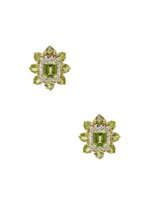 18K Gold, Peridot & Diamond Stud Earrings