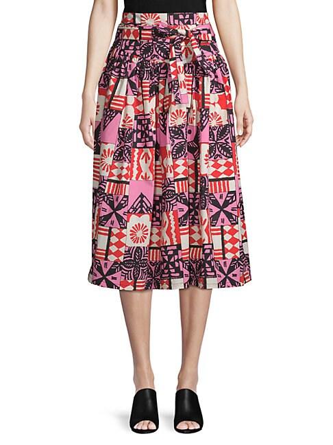 Batik Belted Midi Skirt