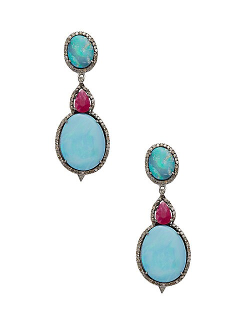 Silver, Ruby, Opal & Champagne Diamond Drop Earrings