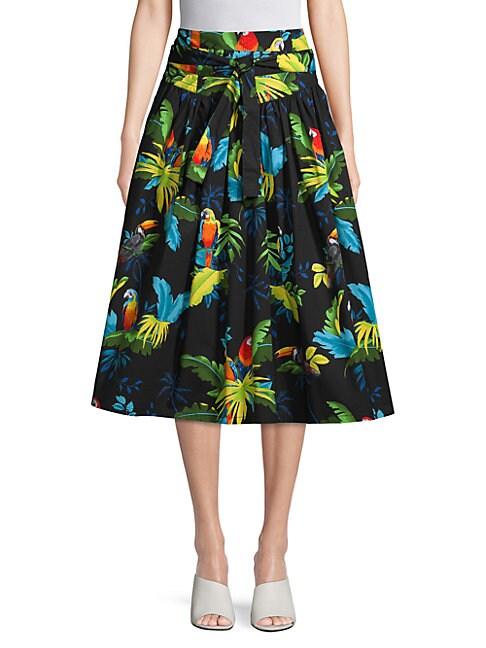 Parrot-Print Belted Midi Skirt