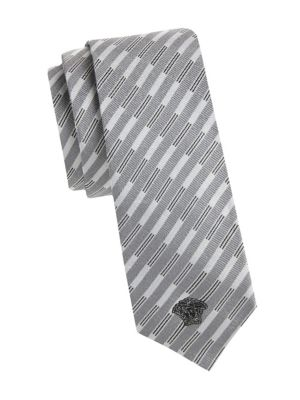 GIANNI VERSACE Cravatte Uomo Cm7 Silk Geometric Tie in Grey