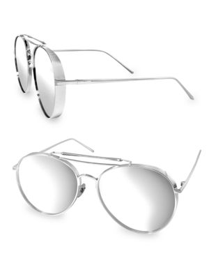 Aqs FOX 58MM Aviator Sunglasses