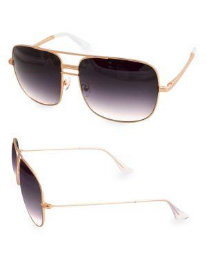 AQS Lia 60Mm Square Sunglasses in Gold