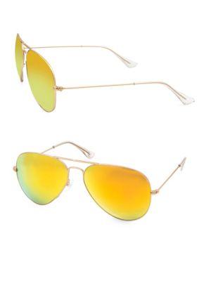 AQS James 58Mm Aviator Sunglasses in Yellow